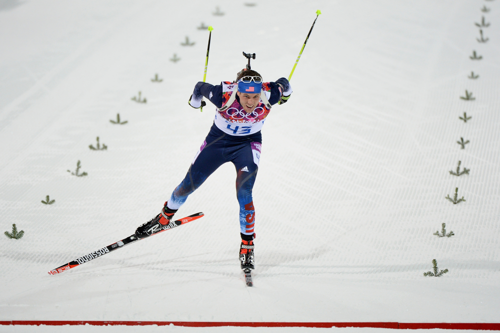 . Tim Burke of United States competes in the Men\'s Sprint 10 km during day one of the Sochi 2014 Winter Olympics at Laura Cross-country Ski & Biathlon Center on February 8, 2014 in Sochi, Russia.  (Photo by Harry How/Getty Images)