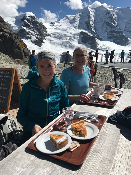 Lunch with a view at Berghaus Diavolezza - quiches and pecan tarts to share with our husbands