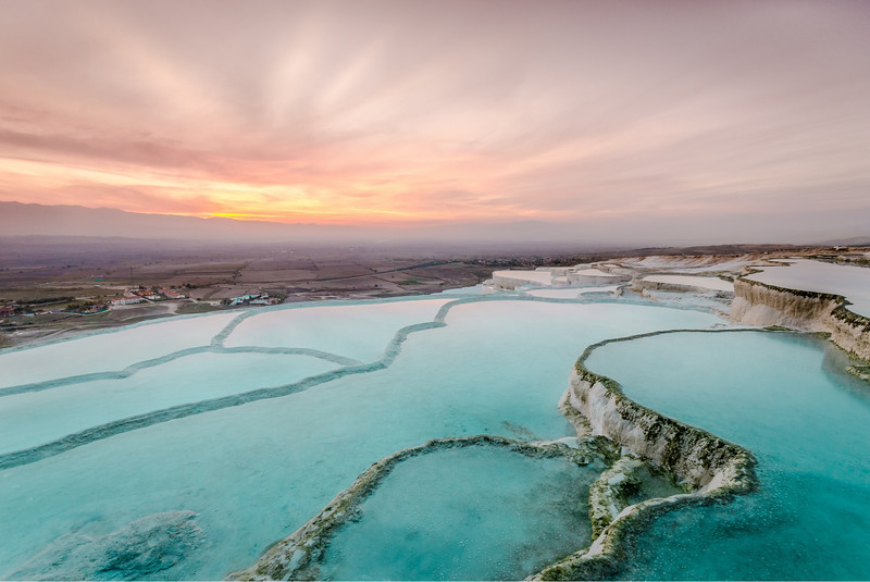 Pamukkale, Turkey at sunset