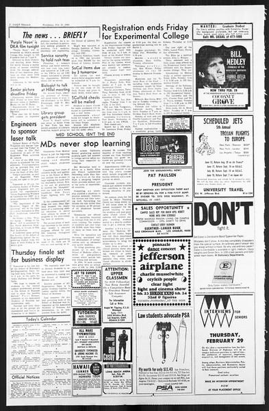 Daily Trojan, Vol. 59, No. 75, February 21, 1968