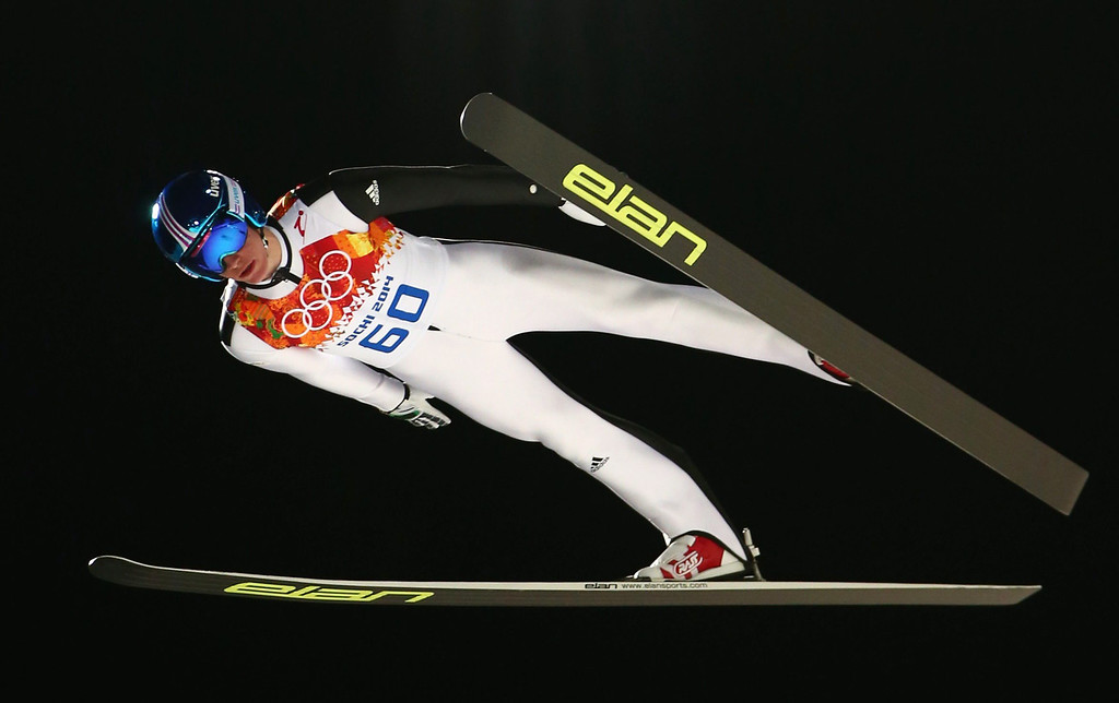 . Peter Prevc of Slovenia in action during a trial jump in RusSki Gorki Jumping Center at the Sochi 2014 Olympic Games, Krasnaya Polyana, Russia, 14 February 2014.  EPA/Daniel Karmann