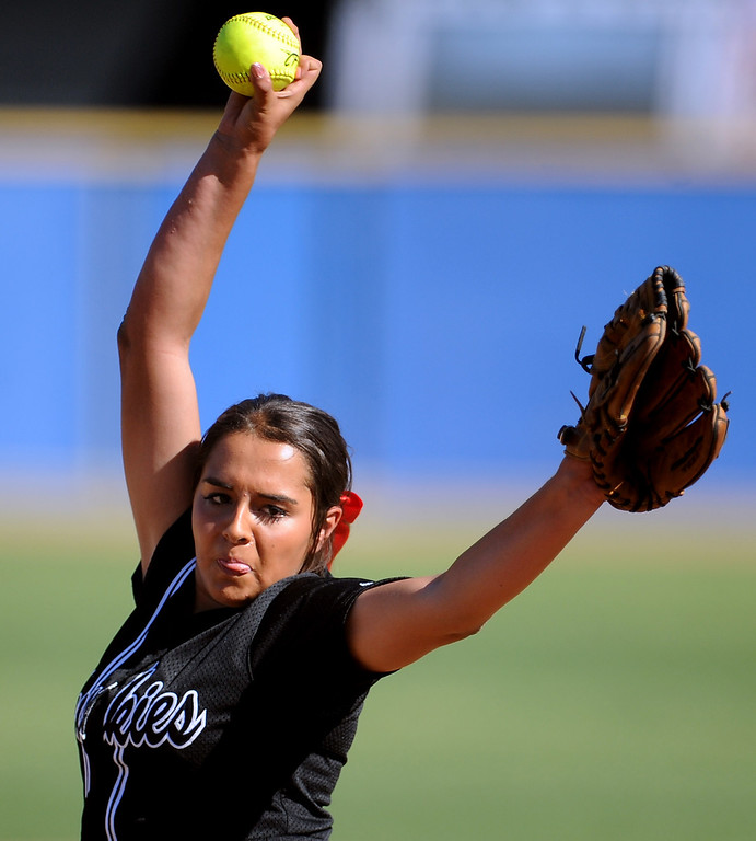 . Corona Centennial starting pitcher Alyssa Valinches throws to the plate in the first inning of Charter Oak softball Tournament semifinal softball game against Bonita at the Big League Field of Dreams Park on Friday, March 15, 2013 in West Covina, Calif. Corona Centennial won 5-1.  (Keith Birmingham Pasadena Star-News)