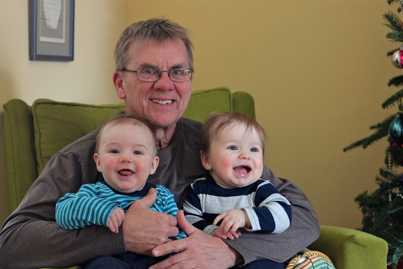 Luca and Cedar hanging out with Grandpa Tim.