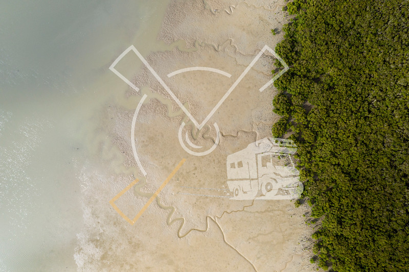 Top view of a shore in Matakohe area during low tide, New Zealand.