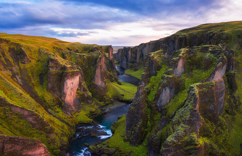 Fjadrargljufur canyon in Iceland at sunset