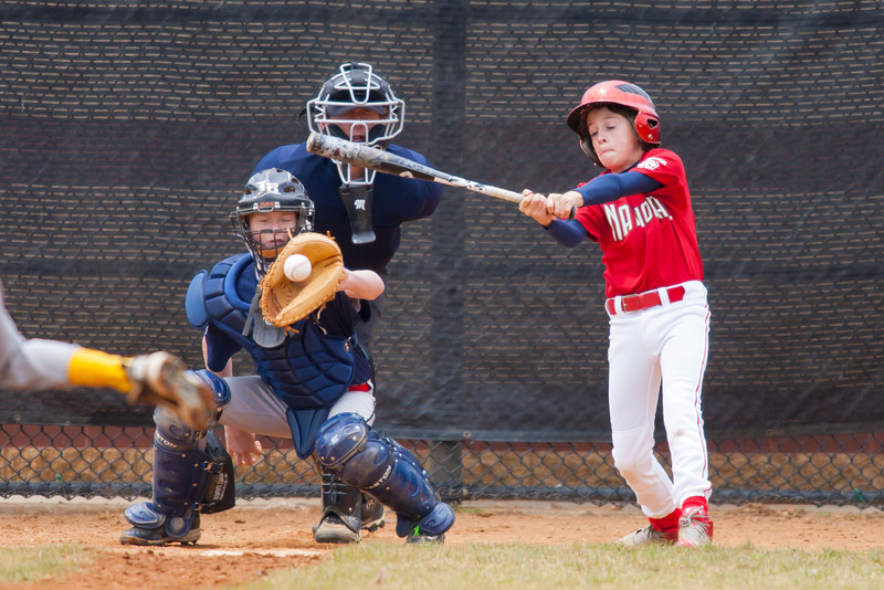 Luke hits a RBI single in the bottom of the 1st inning. Nats lead 3-0. The Nationals almost blew a big lead, but managed to hold off the Rays to win 9-7. They are now 4-2 for the season. 2012 Arlington Little League Baseball, Majors Division. Nationals vs Rays (28 Apr 2012) (Image taken by Patrick R. Kane on 28 Apr 2012 with Canon EOS-1D Mark III at ISO 800, f4.0, 1/2500 sec and 420mm)