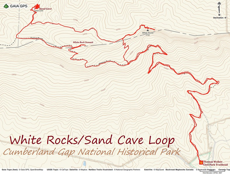 White Rocks-Sand Cave Loop Hike Route Map
