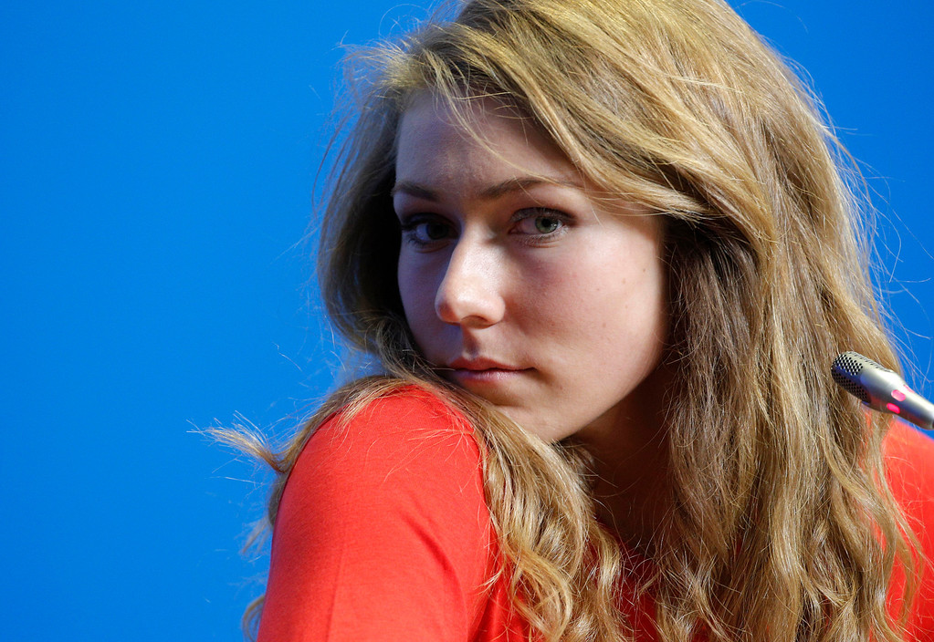 . U.S. skier Mikaela Shiffrin attends a U.S. ski team press conference at the Gorki media centre at the Sochi 2014 Winter Olympics, Saturday, Feb. 15, 2014, in Krasnaya Polyana, Russia. Shiffrin, an 18-year-old from Eagle-Vail, Colo., will be favored to win the gold medal in the women\'s slalom at the Sochi Olympics next week. She\'s also a contender for a medal in the giant slalom. (AP Photo/Christophe Ena)