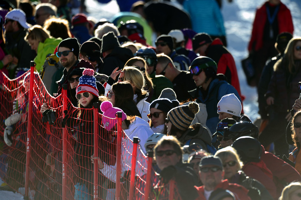 . Fans line fences along the race course to watch the Women\'s downhill race in the FIS Alpine World Ski Championships in Beaver, CO. February 6, 2015. (Photo By Helen H. Richardson/The Denver Post)