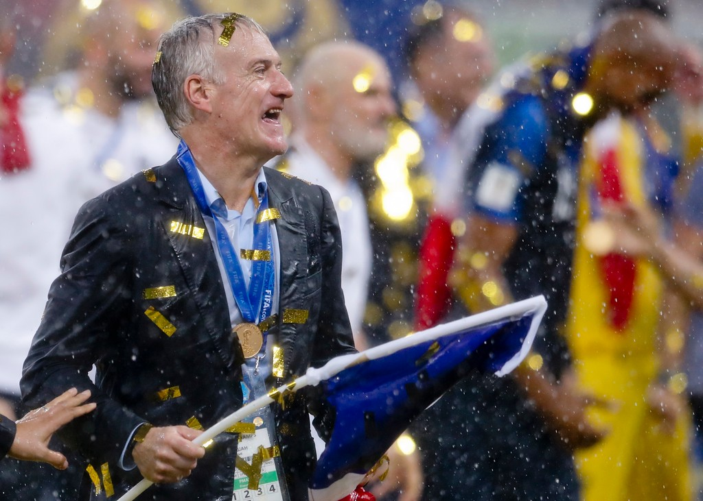 . France head coach Didier Deschamps celebrates at the end of the final match between France and Croatia at the 2018 soccer World Cup in the Luzhniki Stadium in Moscow, Russia, Sunday, July 15, 2018. France won 4-2. (AP Photo/Petr David Josek)
