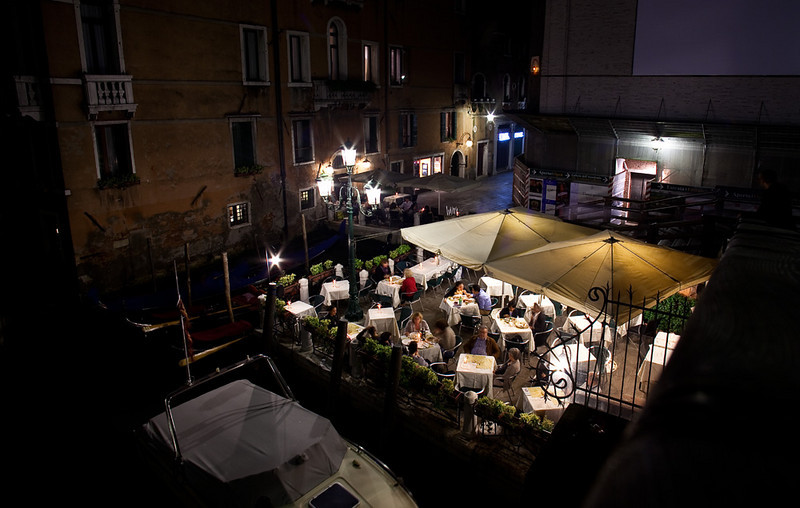 Venice Street Scene at Night