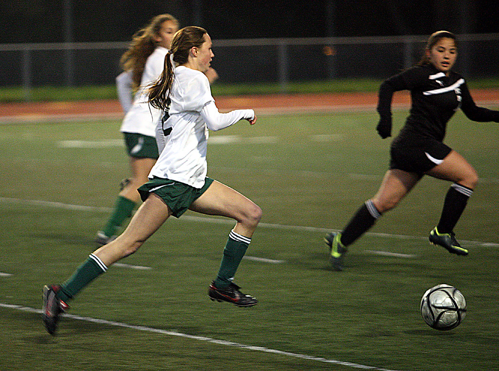 . Harbor High\'s Mollie Brown makes a run at the Pacific Collegiate School\'s goal during their Central Coast Section D-III girls soccer match Wednesday, Feb. 20, 2013, at Soquel High in Soquel, Calif. Harbor won 2-0. (Dan Coyro/Sentinel)