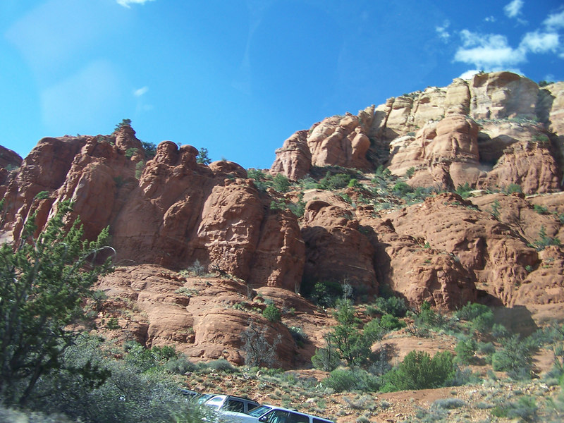 Red rocks viewed on the road up to Chapel of the Holy Cross overlook.