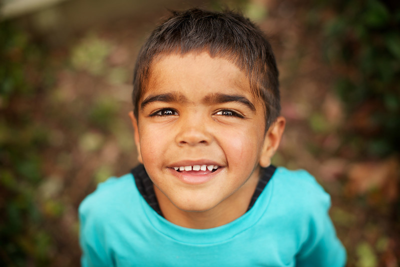 Indigenous Australian Boy Looking up at Camera
