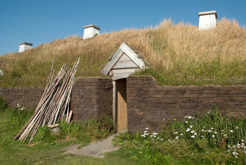 Recreated Norse long house in L'Anse Aux Meadows in Newfoundland, Canada