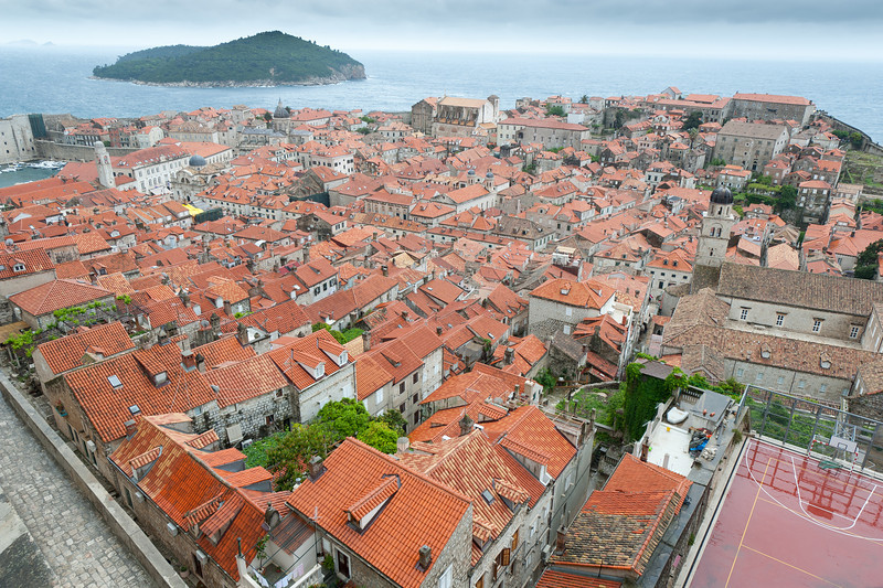 Looking down at houses in Dubrovnik, Croatia