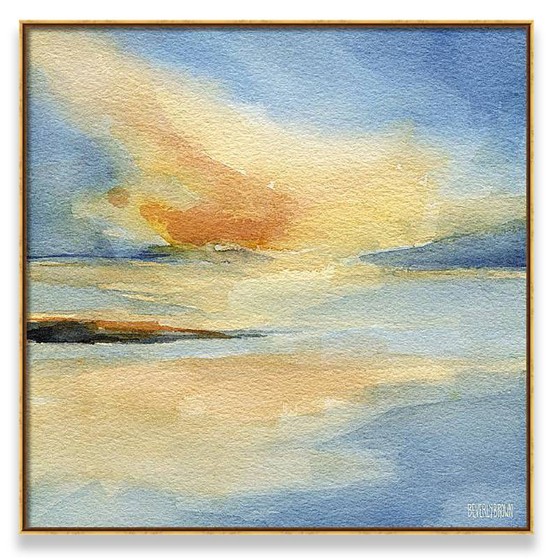 Sunset Seascape Framed Canvas Print by Beverly Brown