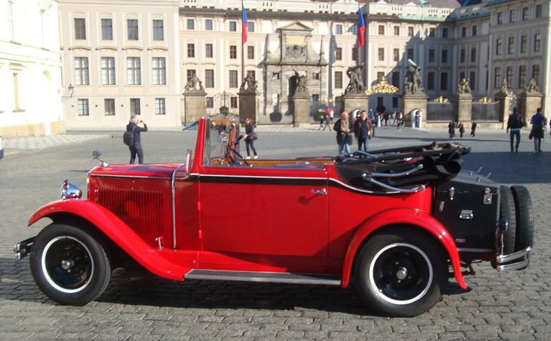 You could tour Prague on foot, Segway (powered unicycle thing for those too lazy to walk), horse-drawn carriage (for those too challenged to consider animal welfare or ethics), or even these antique cars.