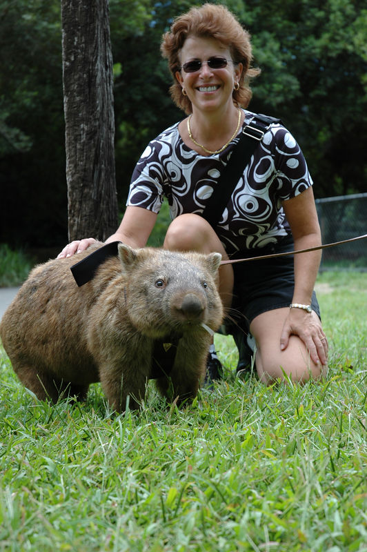 Jody and a wombat.JPG