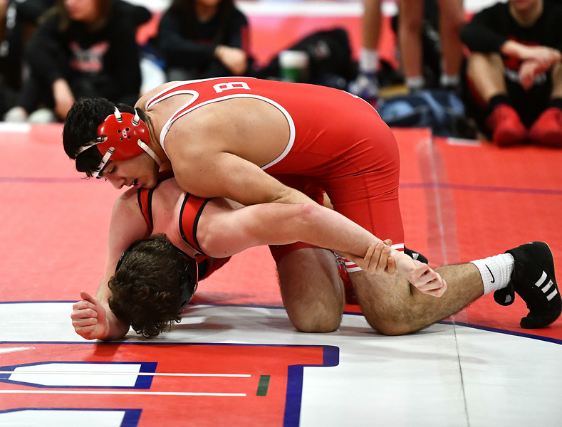 1/11/2020 Mike Orazzi   Staff Berlin's Arban Asatourian and Branford's Spencer Lyon while wrestling Saturday at Berlin High School.