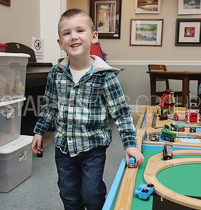 pt beach library trains //Benjamin Briar 3 of Toms River visited the library with his grandmother Judith of Pt Pleasant