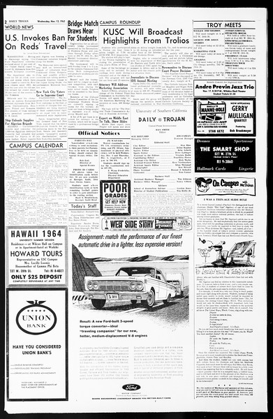 Daily Trojan, Vol. 55, No. 37, November 13, 1963