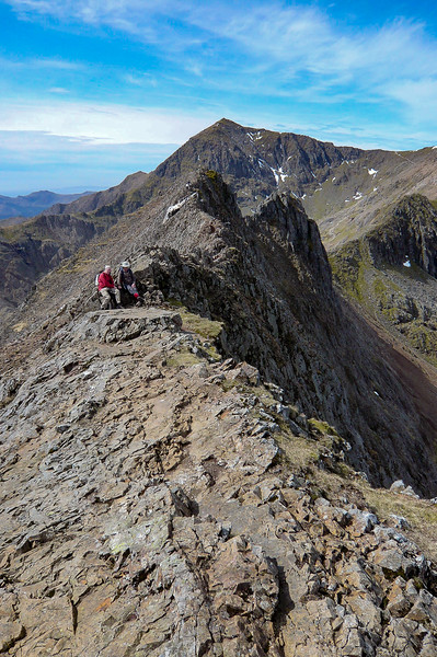 Steve & I climbed Snowdon, the highest mountain in Wales on a beautiful day. By mistake we ended up going up via a route called Crib Goch which we later learned was recommended for expert climbers only.  The peak is in the far background.
