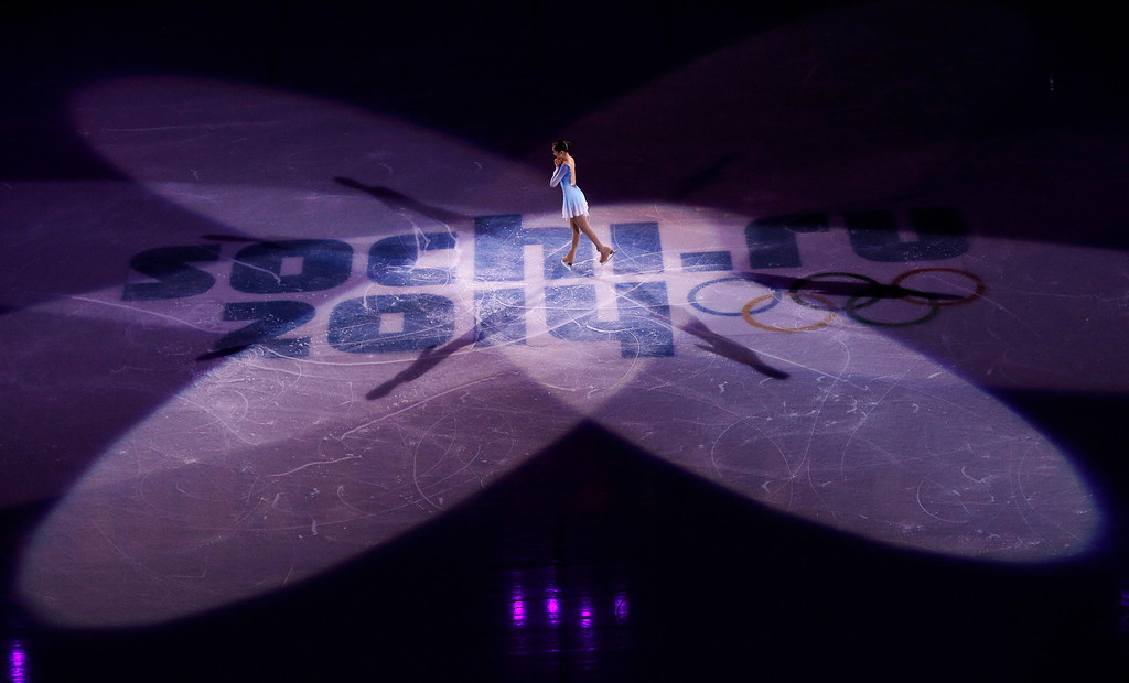 . Yuna Kim of South Korea performs during the figure skating exhibition gala at the Iceberg Skating Palace during the 2014 Winter Olympics, Saturday, Feb. 22, 2014, in Sochi, Russia. (AP Photo/Vadim Ghirda)