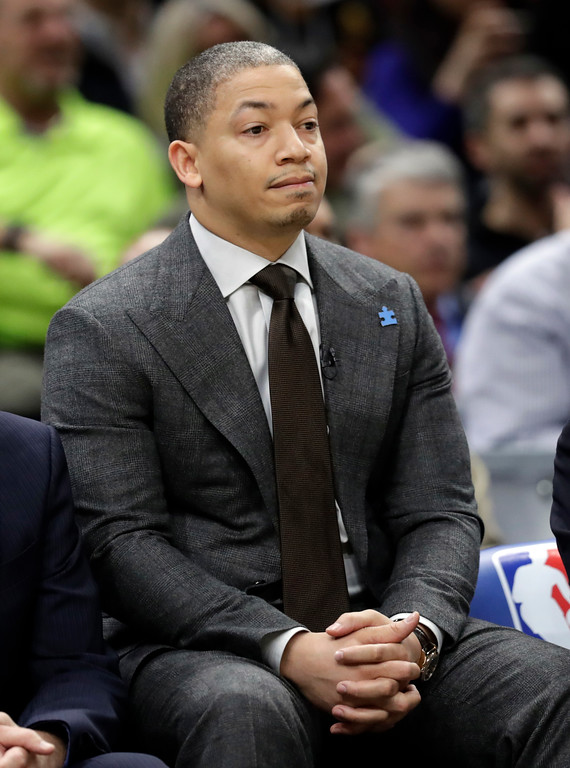 . Cleveland Cavaliers head coach Tyronn Lue watches from the bench in the first half of an NBA basketball game against the Washington Wizards, Thursday, April 5, 2018, in Cleveland. (AP Photo/Tony Dejak)