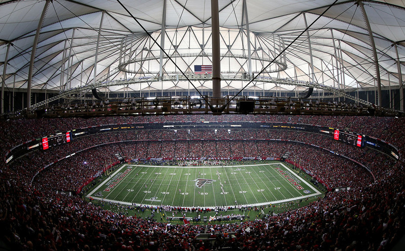 . A general view as the San Francisco 49ers kick off to the Atlanta Falcons to start the NFC Championship game at the Georgia Dome on January 20, 2013 in Atlanta, Georgia.  (Photo by Mike Ehrmann/Getty Images)