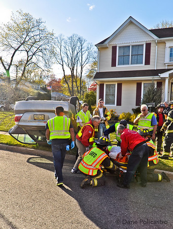 4-7-12 Glen Rock, NJ Overturned Auto: Ackerman Avenue & Harristown Road