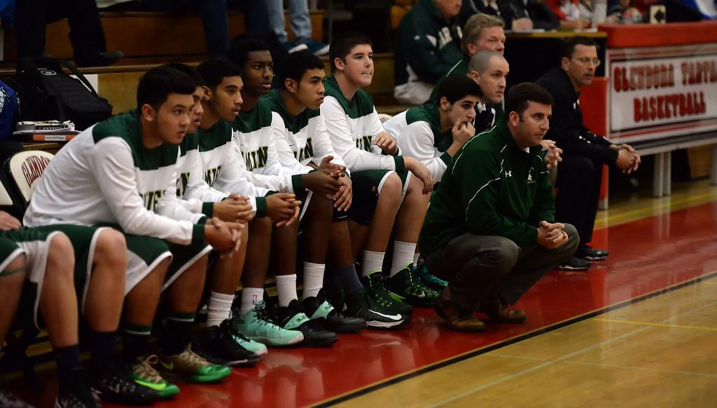 . Damien bench in the second half of the Glendora basketball tournament against Walnut at Glendora High School in Glendora, Calif., on Friday, Dec. 13, 2013. Damien won 66-60.  (Keith Birmingham Pasadena Star-News)