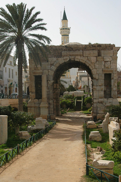 Tripoli: Arch of Marcus Aurelius (Roman, 1st century A.D.) and entrance to medina