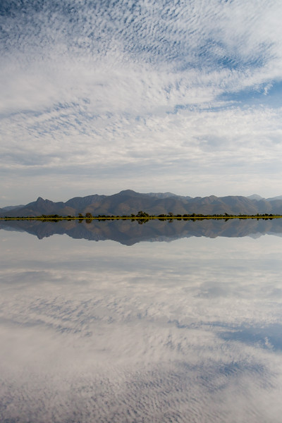View of the Amolar Mountains from a large lake in the Pantanal, Brazil