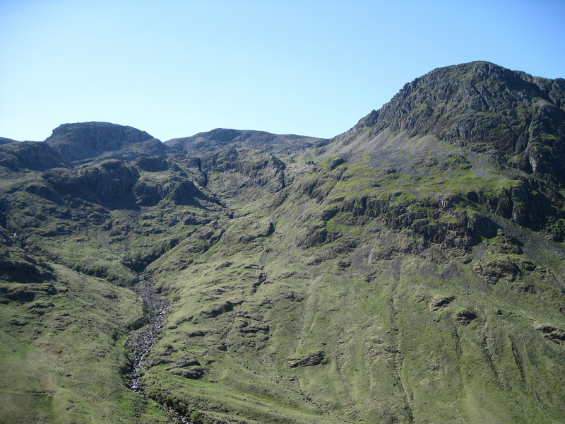 Broad Crag, Scafell Pike and Lingmell from just below Sty Head