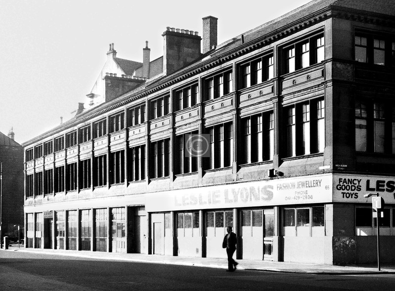 Oxford St, south side between Nicholson St and Buchan St.   This fine warehouse was built in 1882 for James Wilson, iron tube manufacturer.    May 1974