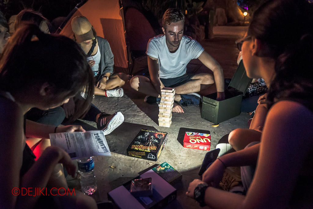Halloween Horror Nights 7 MasterCard Priceless Experience - Playing board games at camp