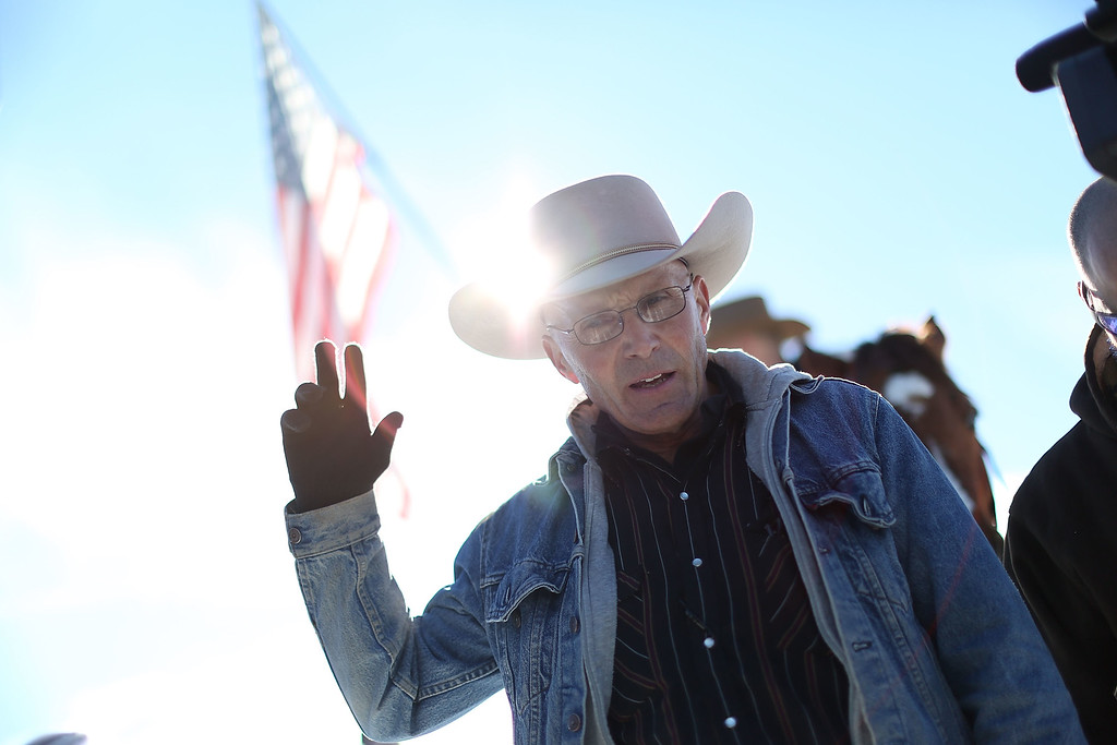 . BURNS, OR - JANUARY 15: Lavoy Finicum speaks to the media as he and others occupy the Malheur National Wildlife Refuge on January 15, 2016 near Burns, Oregon. The armed anti-government militia group continues to occupy the Malheur National Wildlife Headquarters as they protest the jailing of two ranchers for arson.  (Photo by Joe Raedle/Getty Images)