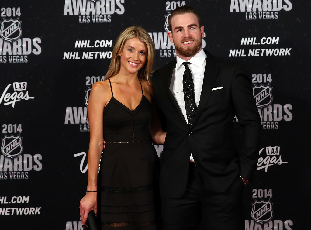. Ryan O\'Reilly of the Colorado Avalanche and guest arrive on the red carpet prior to the 2014 NHL Awards at Encore Las Vegas on June 24, 2014 in Las Vegas, Nevada.  (Photo by Bruce Bennett/Getty Images)