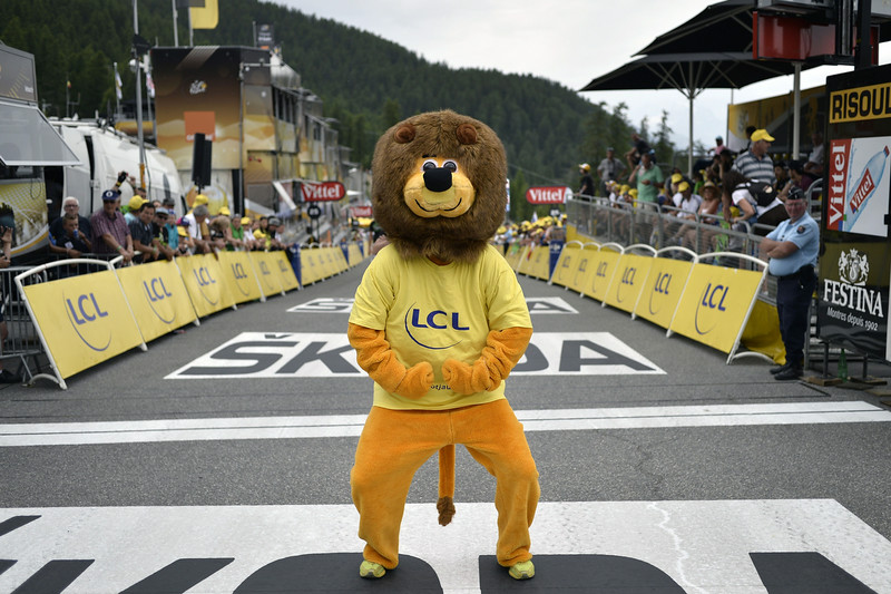 . The Lion mascot of LCL is pictured near the finish line in Risoul, during the 177 km fourteenth stage of the 101st edition of the Tour de France cycling race on July 19, 2014 between Grenoble and Risoul, central eastern France.  (JEFF PACHOUD/AFP/Getty Images)