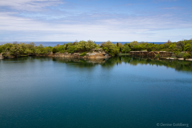 quarry and ocean, blue waters, blue sky