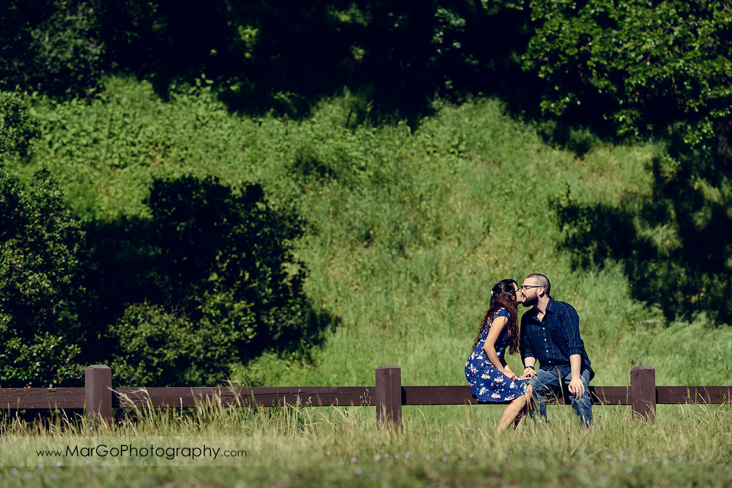 woman in blue dress and man in blue shirt sitting on the wooden fence and kissing during engagement session at Sunol Regional Wilderness