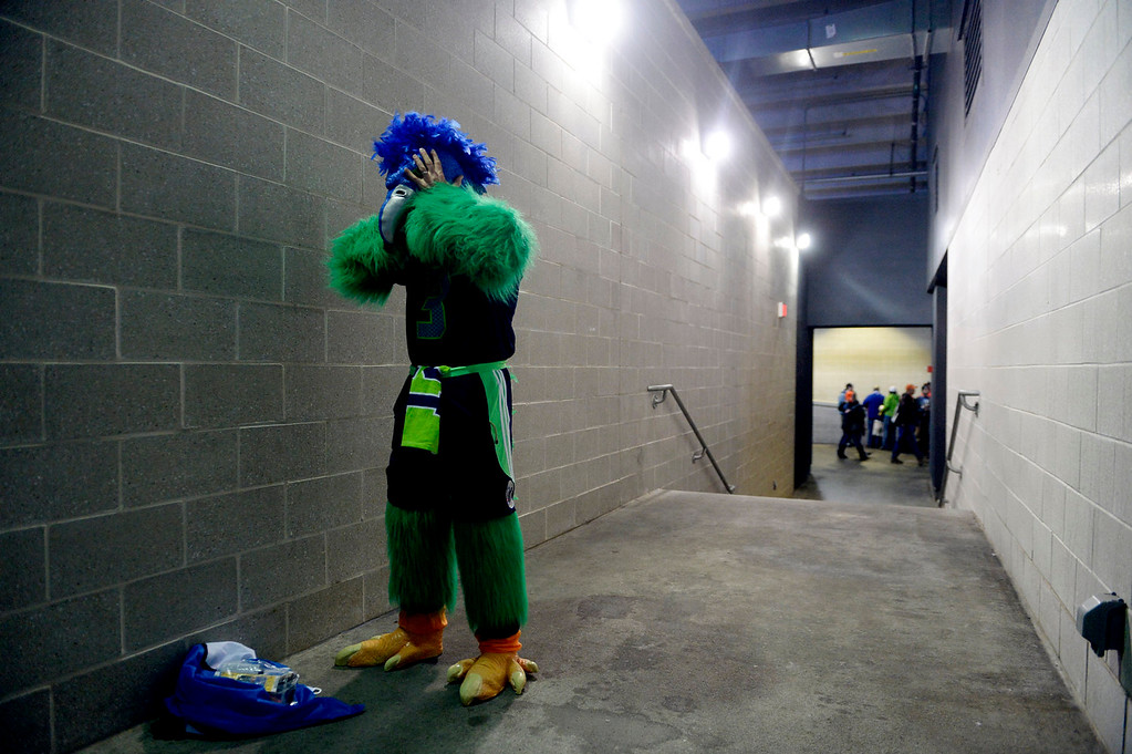 . A version of the Sehawks mascot Blitz gets ready prior to the start of the game.  The Denver Broncos vs the Seattle Seahawks in Super Bowl XLVIII at MetLife Stadium in East Rutherford, New Jersey Sunday, February 2, 2014. (Photo by AAron Ontiveroz/The Denver Post)