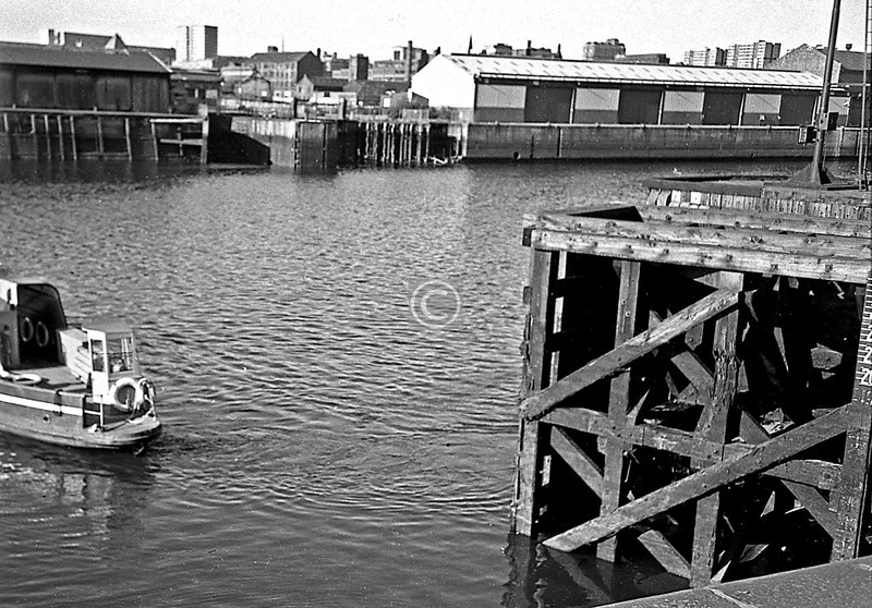 Finnieston Ferry, south to north. Part of the negative is missing.   June 1975