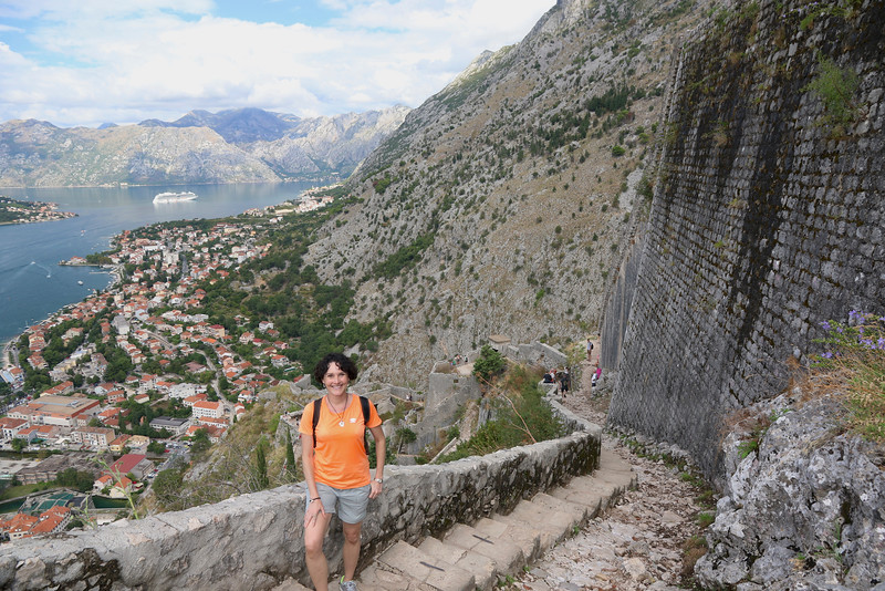 We did this awesome climb up the city walls from the Old Town up to the Castle of St. John. The 1200 foot assent entails over 1350 steps through a winding series of switchbacks that stretch for over two miles. - Kotor, Montenegro