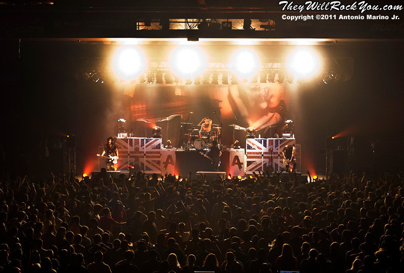 "Asking Alexandria performs on November 12, 2011 during the ""World War III"" tour at the Mid-Hudson Civic Center in Poughkeepsie, NY"