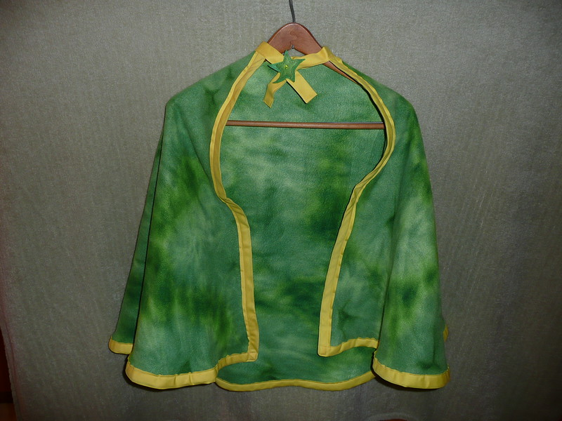 #2 Green tie-dye with yellow trip - $15 or two for $25  (All capes are fleece and have velcro closure at the neck)