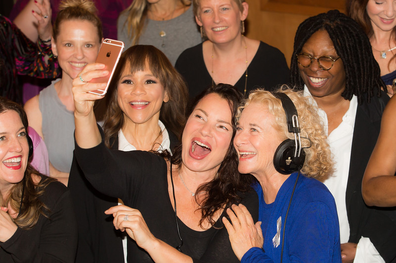 "Front row (l-r) Jennifer Simard, Rosie Perez, Fran Drescher, Carole King; Back row (l-1) Anika Larsen, Liz Callaway, Whoopi Goldberg at the Broadway for Orlando benefit single recording of ""What the World Needs Now Is Love"" - June 15, 2016 - Avatar Studios, NYC (Photo: Jeremy Daniel)"