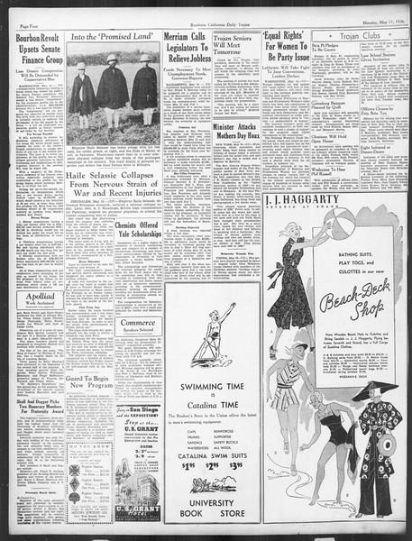 Daily Trojan, Vol. 27, No. 133, May 11, 1936