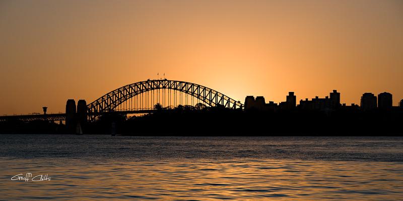 Sydney Harbour Bridge Sillhouette at Sunset.